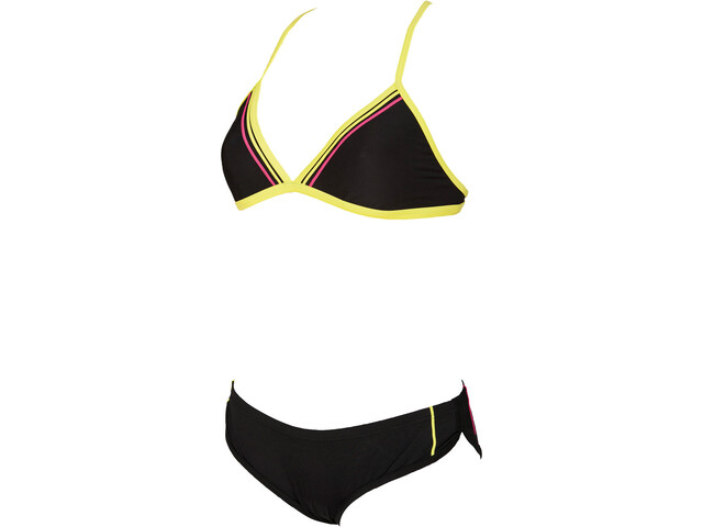 arena Sporty 2 Triangle Swimsuit Dame black/soft green/fresia rose
